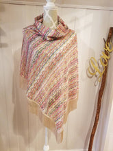 Load image into Gallery viewer, Collared Poncho in Multicolored Stripe Crochet Knit | One size