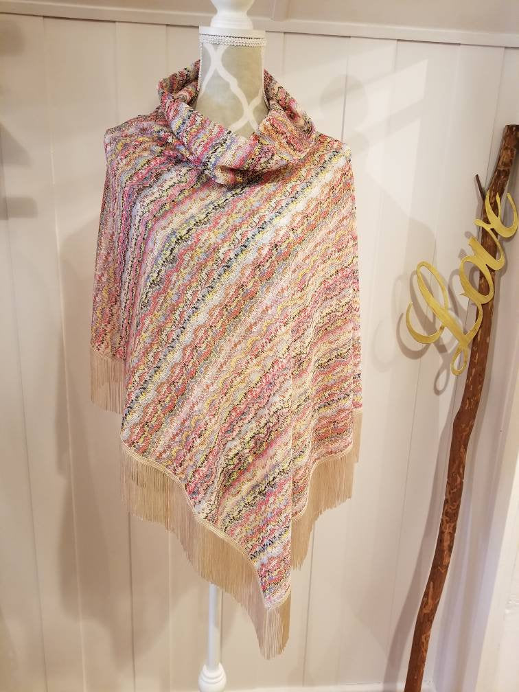 Collared Poncho in Multicolored Stripe Crochet Knit | One size