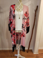 Load image into Gallery viewer, Box Cut Kimono in Pink Magnolia Floral Crepe | One size