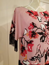 Load image into Gallery viewer, SHIFT TOP | Pink Magnolia Floral Crepe Chiffon with Black Fringed Edge | Size S/6