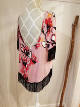 Load image into Gallery viewer, Shift Top in 'Pink Magnolia' Floral Crepe + Black Fringes