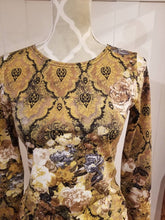 Load image into Gallery viewer, Ruched Hip Top in Golden Rose Floral Knit | Sizes S-L