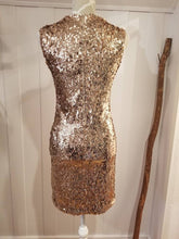 Load image into Gallery viewer, Max Sheath Dress in 'Rose Gold' Stretch Sequin Knit