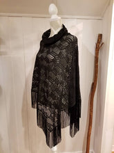 Load image into Gallery viewer, Collared Poncho in Black Crosshatch | One size