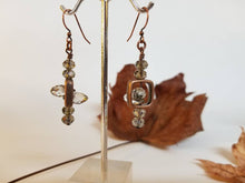 Load image into Gallery viewer, COPPER MOON CRYSTAL EARRINGS | Smoky Crystal + Copper Window Box