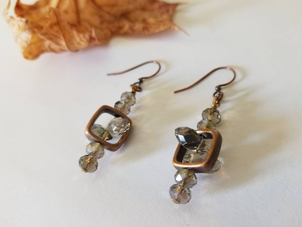 COPPER MOON CRYSTAL EARRINGS | Smoky Crystal + Copper Window Box
