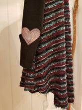 Load image into Gallery viewer, Sunday Love Cardigan in 'Purple Aura' Slub Knit, Solid Black Knit Sleeves + Iridescent Mauve Leather Heart Elbow Patches