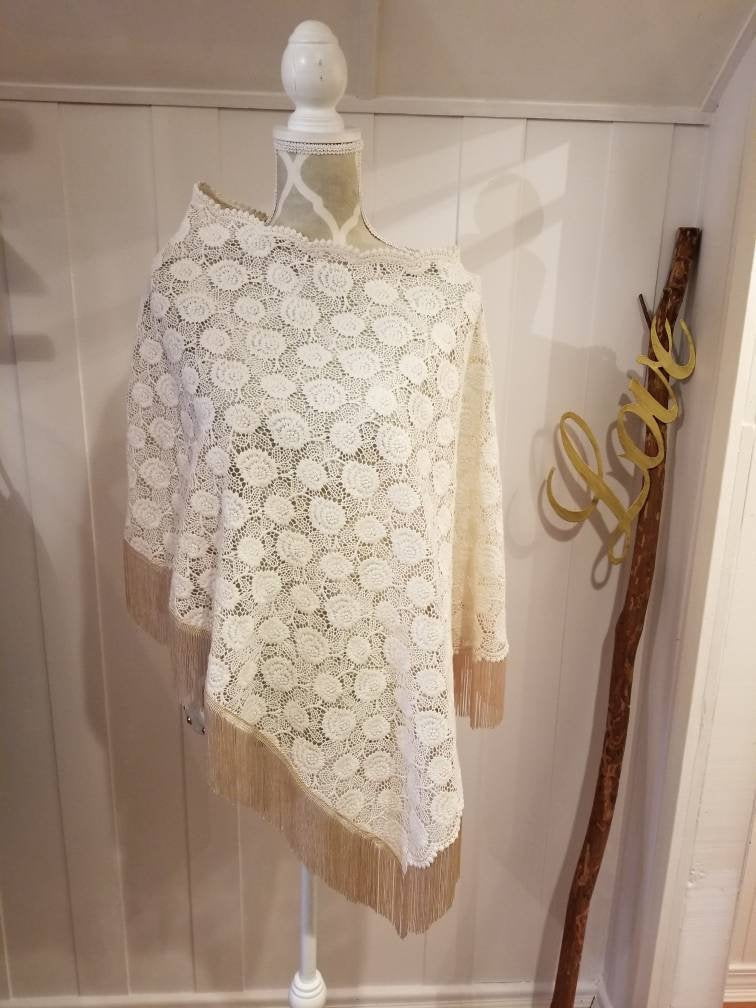 Fringed Poncho in Ivory 'Daisy Crochet' Lace + Fringed Hem