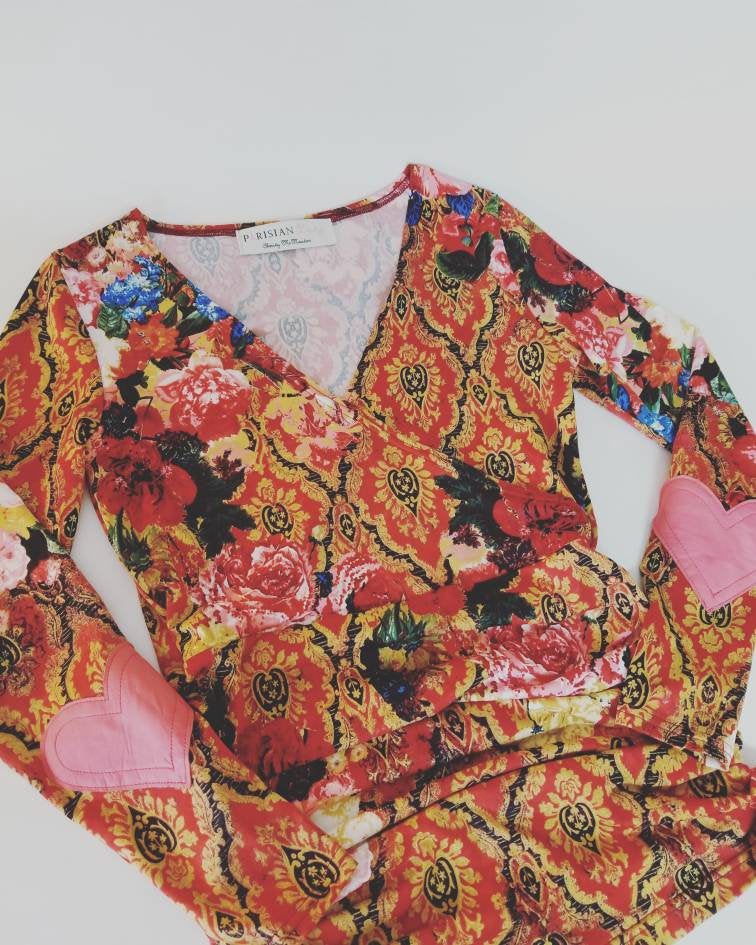 Heart On My Sleeve Top in 'Red Rose' Floral Knit + Pink Leather Heart Elbow Patches