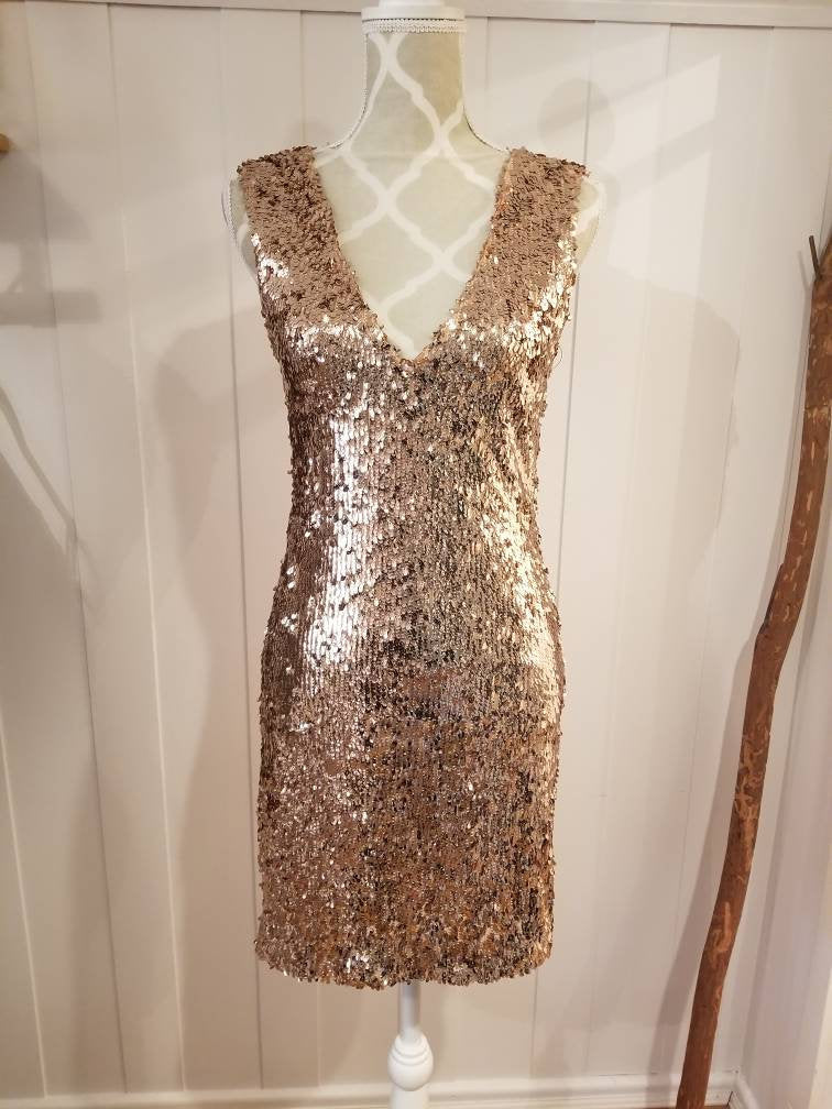 Max Sheath Dress in 'Rose Gold' Stretch Sequin Knit