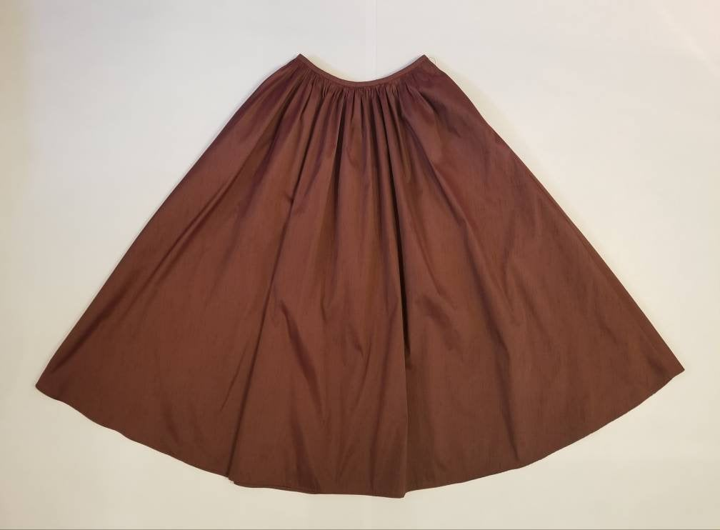 Gathered Waist Ankle Skirt in 'Maroon' Taffeta