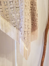 Load image into Gallery viewer, Fringed Poncho in Taupe 'Deco' Crochet