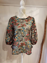 Load image into Gallery viewer, Balloon Sleeve Tunic Top in 'Hollyberry + Dragonfly' Sheer Mesh