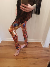Load image into Gallery viewer, Ruched Bootcut Leggings in 'Red Rose' Floral Knit