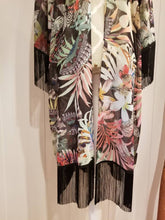 Load image into Gallery viewer, Box Cut Kimono in Black 'Tropical' Chiffon + Black Fringes