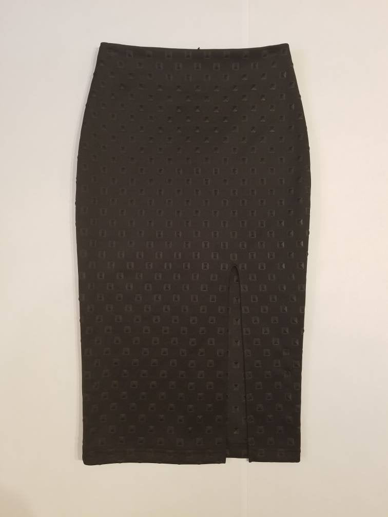 Midi Pencil Skirt in 'Black Diamond' Knit | Sizes S-XL