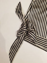 Load image into Gallery viewer, SIDE BOW CAMISOLE | Black + Ivory Mini Striped Satin | Size S/6