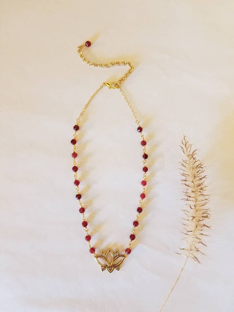 LOTUS CHOKER NECKLACE | Small Lotus Flower Pendant on a Ruby Rosary Chain