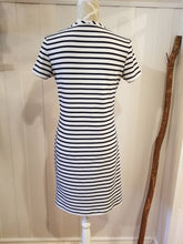 Load image into Gallery viewer, Short Sleeve Shift Dress in 'Midnight Blue + White Stripe' Stretch Knit