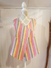 Load image into Gallery viewer, Cropped Lounge Vest in 100% 'Daybreak Stripe' Linen