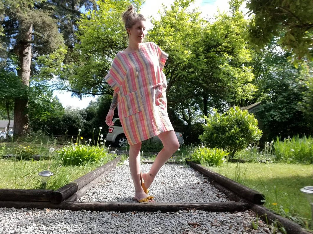 BANDED FREEDOM DRESS | 100% 'Daybreak' Striped Linen | One size