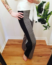 Load image into Gallery viewer, SIDE PANEL DRAWSTRING PANTS | Black + Ivory Mini Striped Satin + Black Crepe | Sizes S/6-L/10