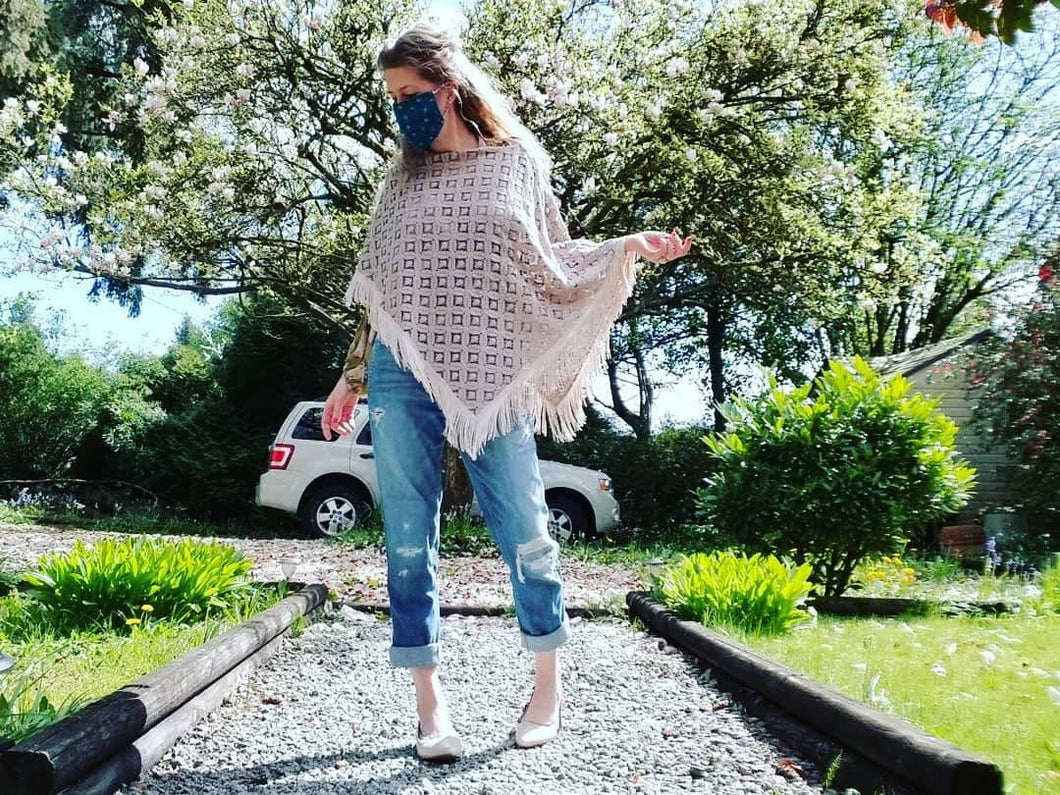 Fringed Poncho in Taupe 'Deco' Crochet