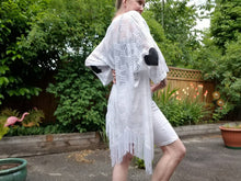 Load image into Gallery viewer, STAR LOVE DUSTER KIMONO | White Stretch Crosshatch, White Fringes + Black Leather | One size