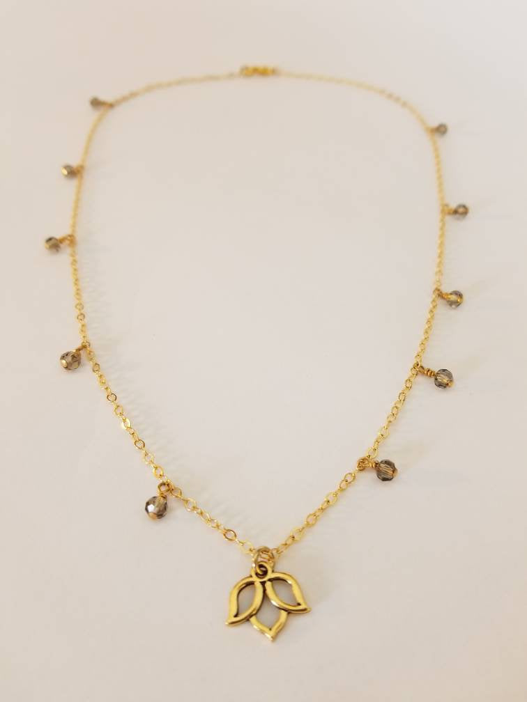 Mini Lotus Flower Necklace with 'Smoky' Crystals + Lotus Pendant