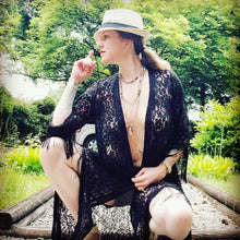 Load image into Gallery viewer, Boho Cardigan in Black 'Paisley & Floral' Lace + Black Fringes