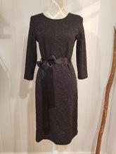 Load image into Gallery viewer, CHLOE SHEATH DRESS | Black Paisley Jacquard Stretch Knit + Detachable Sash | Size M/8