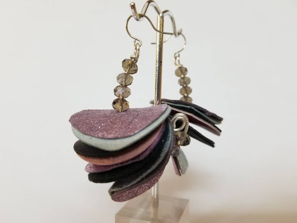 Arched Moon Earrings with Purple/Silver Toned Leathers + 'Smoky' Crystals