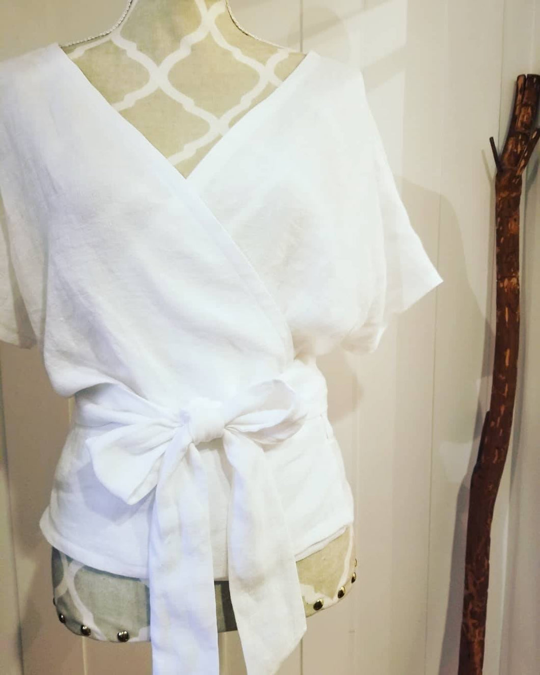 Freedom Wrap Top 'Fully Reversible' in 100% White, Tangerine or Black Linen
