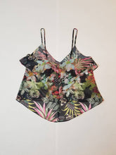 Load image into Gallery viewer, FLOUNCE NECK TOP | Multicolored Tropical Chiffon | Sizes S/6-L/10