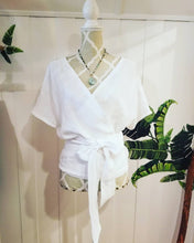 Load image into Gallery viewer, FREEDOM WRAP TOP {fully reversible} | 100% White Linen | One size