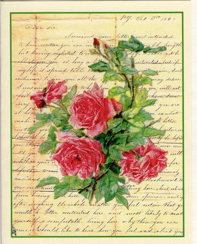 1843~Roses Ephemera Note Card