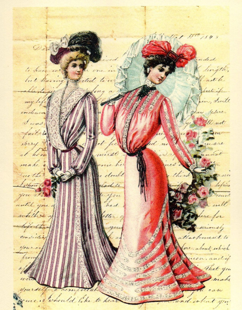 1901 Women's Fashions & Roses Note Card