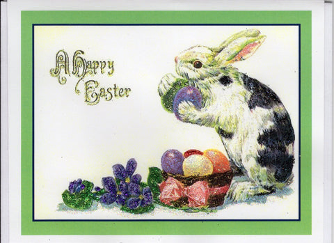 A Happy Easter ~ Rabbit with Basket of Decorated Eggs