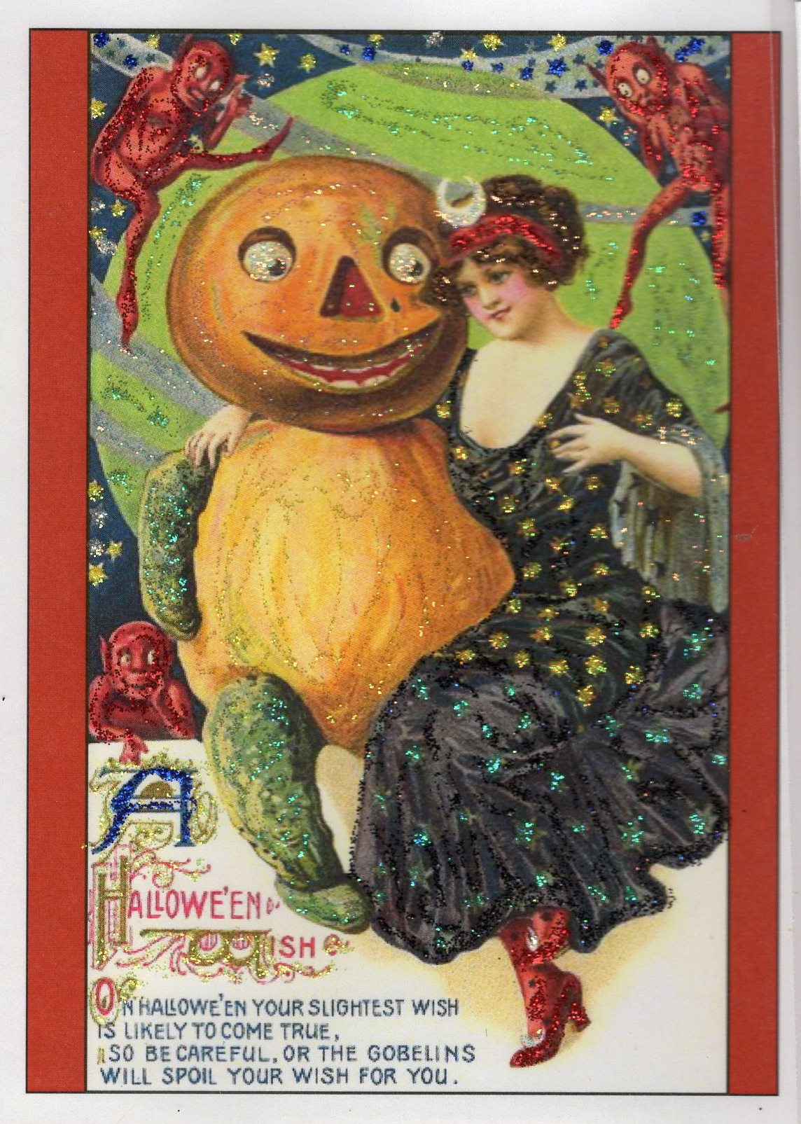 a halloween wishvictorian lady and pumpkin gentleman glitter card