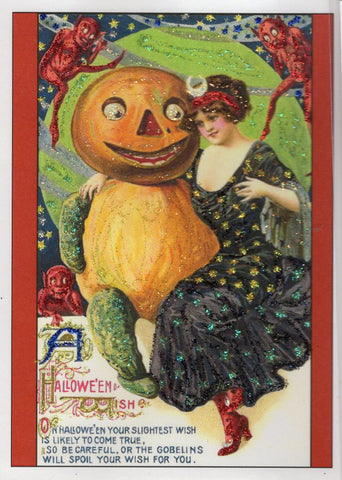 A Halloween Wish...Victorian Lady and Pumpkin Gentleman Glitter Card