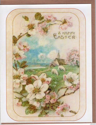 A Happy Easter ~ Blossoms Pastoral Landscape Glitter Card