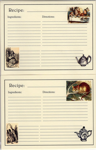 Recipe Cards Package ~ Alice in Wonderland