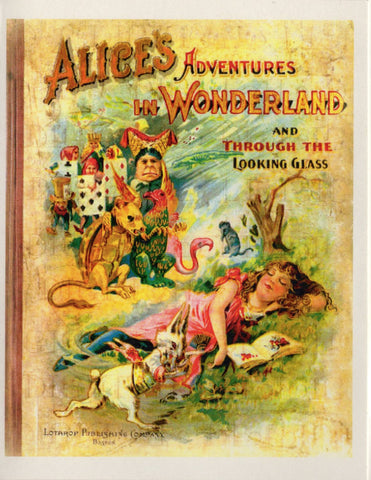 Alice's Adventures in Wonderland and Through the Looking Glass Book Cover Note Card
