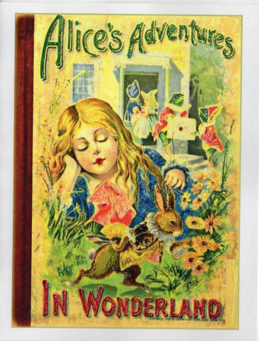 Alice's Adventures in Wonderland Book Cover Glitter Card