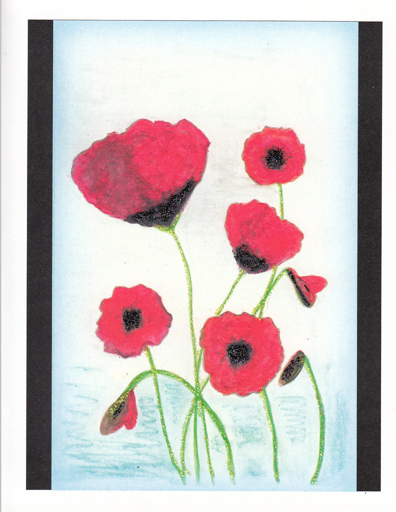 Anne's Poppies Glitter Card