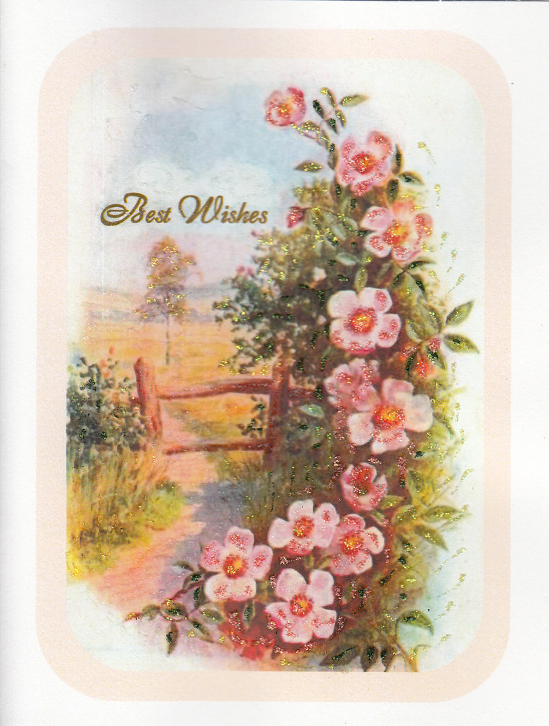 Best Wishes ~ Beach Roses Landscape Glitter Card