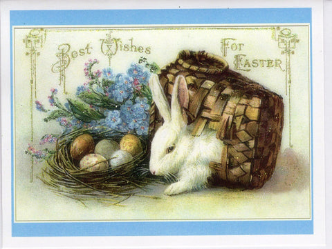 Best Wishes for Easter ~ Bunny in Basket Glitter Card