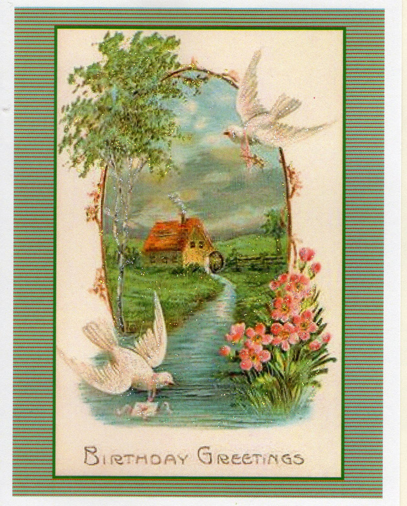 Birthday Greetings ~ Doves & River Scene Glitter Card