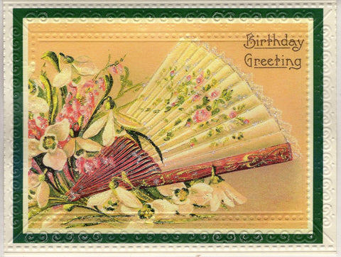 Birthday Greetings Fan Embossed Glitter Card