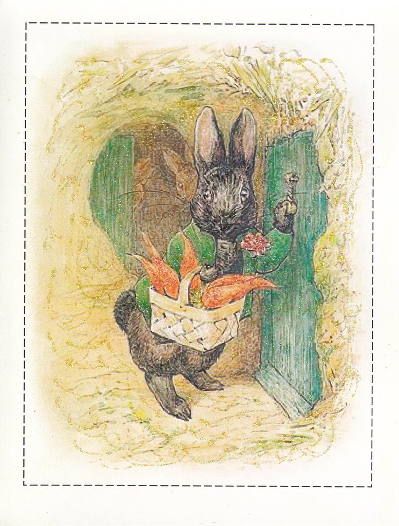 Black Rabbit Brings Carrots Glitter Card